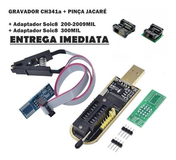 Programador Gravador Eprom Bios Flash Ch341a + Kit Adaptador