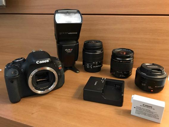 Câmera Cânon T3i Com 3 Lentes E Flash Sem Detalhes