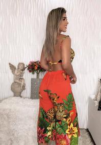 Conjunto Cropped E Calça Pantacourt Feminino -promoçao