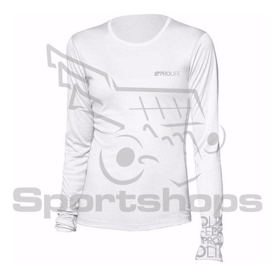 Camiseta De Alta Proteção Solar Feminina Prolife Branca - Gg