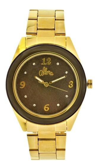 Relógio Analógico Allora Al2035if/k4m Dourado Marrom