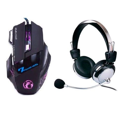 Kit Mouse 2400 Dpi Usb Led Sports + Headset Gamer Microfone