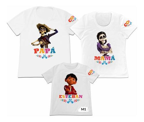 Camiseta Set 3 Familia Mama Papa Hijo Coco Personalizada