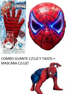 Spider Man Guante Elastico C/luz Lanzatazos + Másc - 6 Cuot