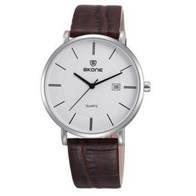 Relógio Unissex Skone Em Couro - 1 Ano De Garantia