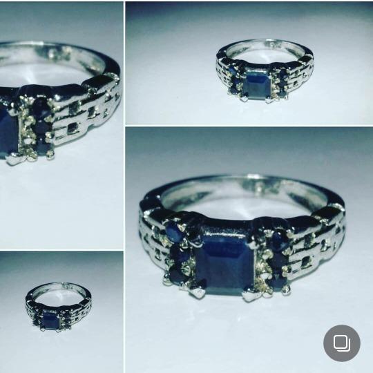 Anel Safira Azul Em Prata Banhada À Rhodium