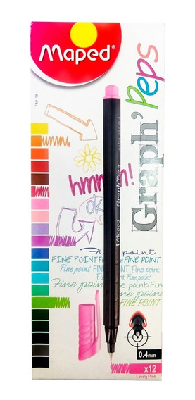 Caneta Fineliner Graph Peps Maped 0,4mm - 12 Unidade
