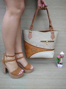 Conjunto Combo Dama Sandalia Plataforma + Bolso Combinado