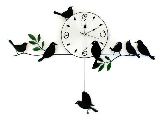 Reloj De Pared Péndulo Pájaro Deco Morph