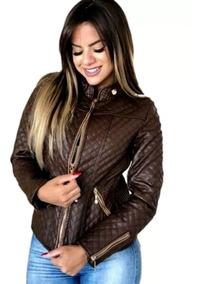 Jaqueta De Couro Feminina Pu Metalasse Casaco Frio Inverno