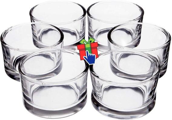 Set X 12 Vaso Fanal Vidrio Porta Vela Noche Souvenir
