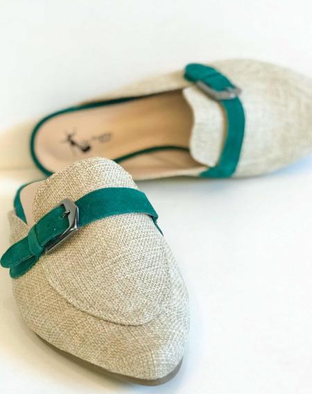 Sapato Mule Sapatilha Rasteirinha Chinelo Fivela Verde Lindo