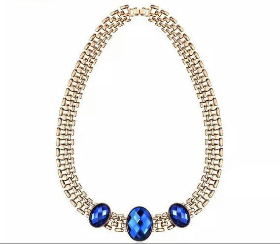 Collar De Oro Cafe Y Cristales Austriacos Azules Oferta.