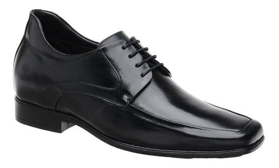 Sapato Malbork + 6cm Altura Em Couro Preto Com Cadarço