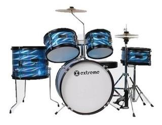 Batería Junior Infantil Azul 3d Extreme Exbt048 5 Tambores +