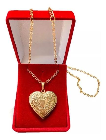 Colar Pingente Corrente Relicário Coração Banhado Ouro 18k