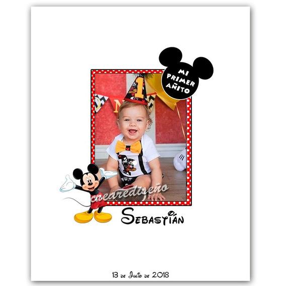 1er Cumpleaños Mickey Mural De Firmas Cuadro C/foto 40x50cm