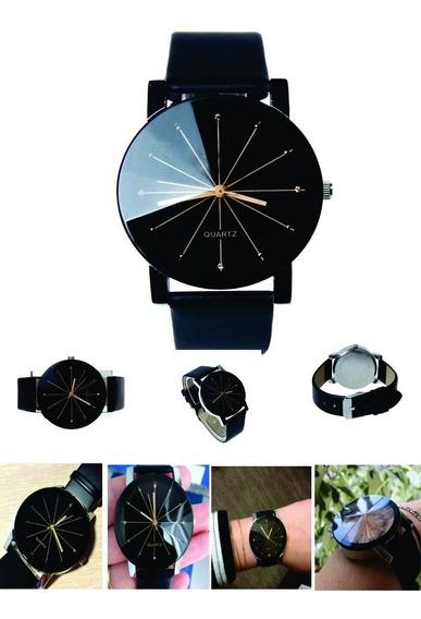 Relógio Quartz Feminino Pulseira De Couro Preto Frete Grátis