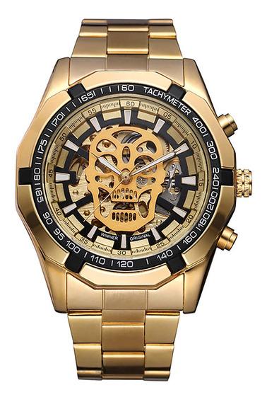 Relógio Masc Winner 0651 Skull Aço Automático Dourado Fddour