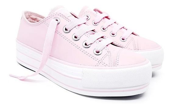 Tenis Feminino Casual Plataforma Capricho Rosa/branco