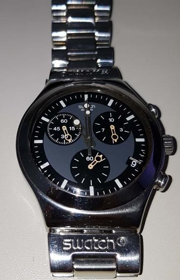 Relógio Swatch Windfall Fundo Preto Revisado E Polido