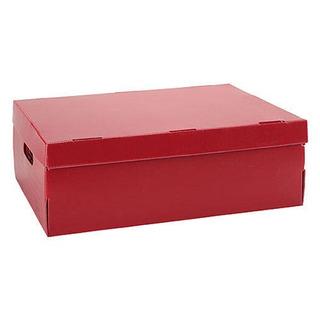 Caja Archivo Plástico Plana 802 Rojo. Con Tapa.