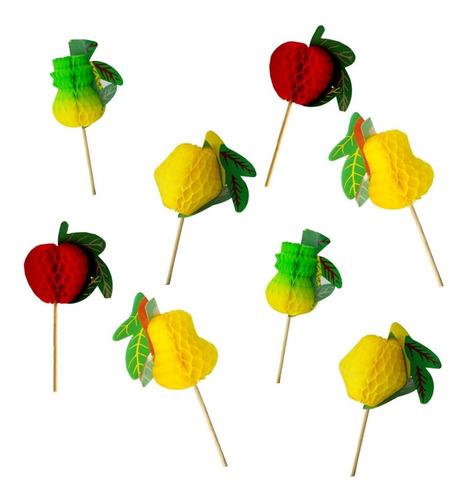 Imagem 1 de 3 de Palitos Decorados Frutas Para Petiscos E Drinks - 40 Unid.