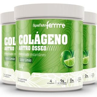 Kit 3 Colágeno Artro Ósseo Limão Clorofila 200g - Apisnutri
