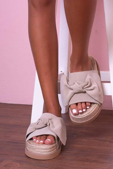 Sandalias Importadas Moño Cuero Gamuza Plataforma Yute