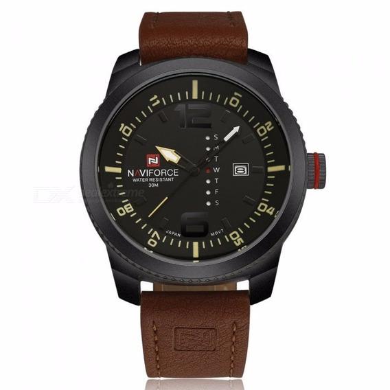Naviforce 9063 Relógio Quartz De Couro Masculino