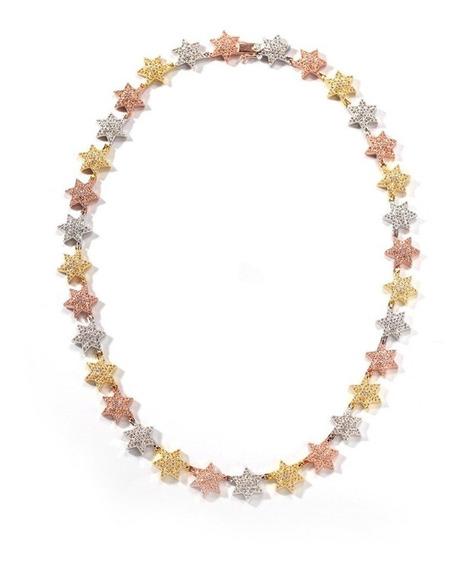 Corrente Iced Star Ouro, Ouro Rose E Prata Cravejada