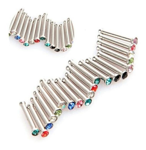 10 Piezas Aretes Nariz Piercing Perforación Cristal