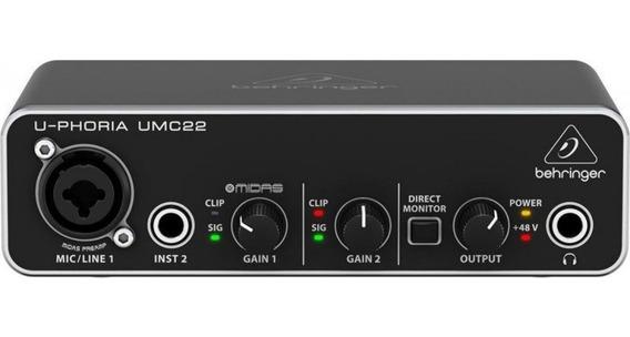 Interface Placa Audio Behringer Uphoria Umc22 Nota Fiscal 22