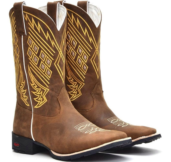 Bota Masculina Botina Texana Country Bico Quadrado Couro