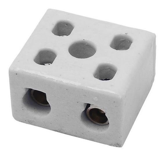 Isolador Conector Bipolar Em Porcelana 10mm 10a-250v