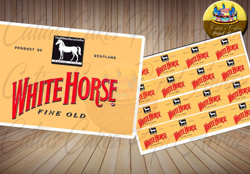 White Horse Cavalo Branco Whisky Papel Arroz Faixa Lateral