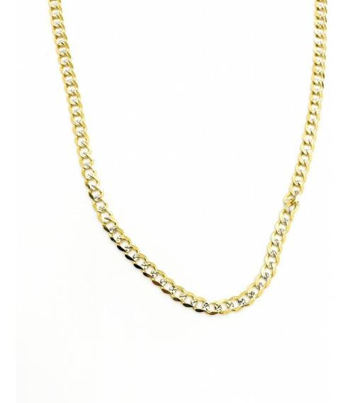 Cadena Barbada Diamantada De Oro De 10k 55cm De 12.8gr