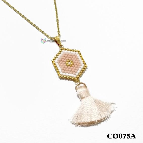 Collar Miyuki Atrapasueños Rosa Acero Inoxidable Dorado