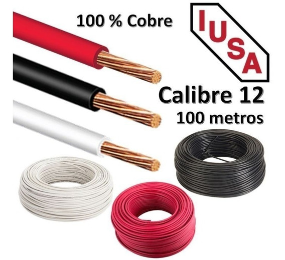 Cable Eléctrico Cal. 12 Iusa 100mt Cobre Puro