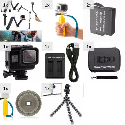 Kit Action Dome + Bastão + 3 Way 6 Pol Gopro Hero5 E 6 Black