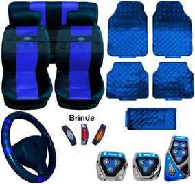Kit Azul Tapetes Capa Banco E Volante Pedaleira
