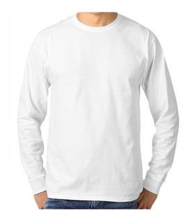 5 Camisetas Brancas Manga Longa Malha Fria Não Da Bolinhas
