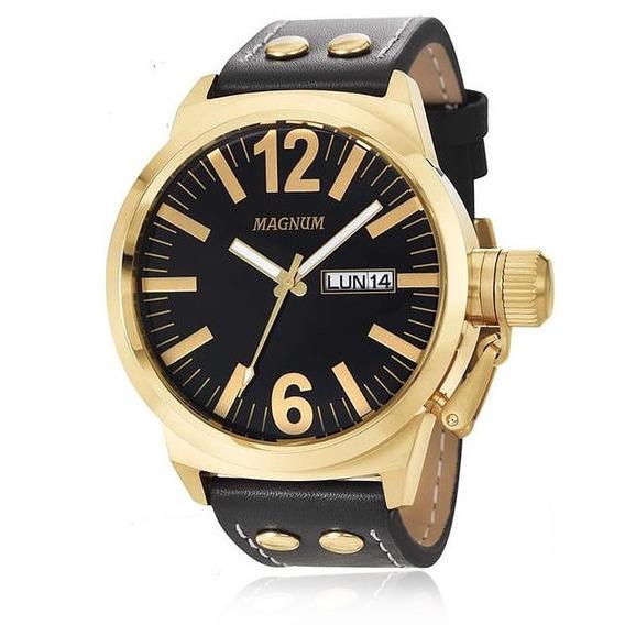 Relógio Magnum Masculino Ma31524u Dourado Couro Preto