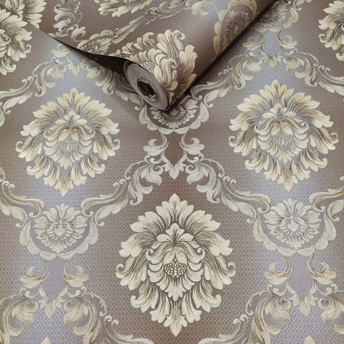 Imagem 1 de 8 de Papel De Parede Rolo Importado Textura Damask Alto Padrão