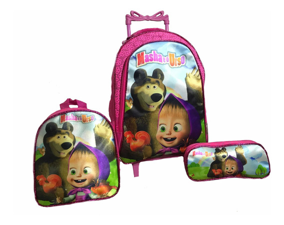 Kit Mochila Infantil Masha E O Urso Grande De Rodinha
