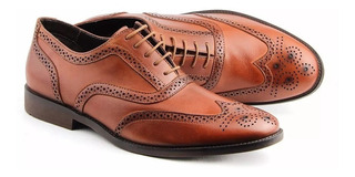 Sapato Social Oxford Brogue Floral Masculino
