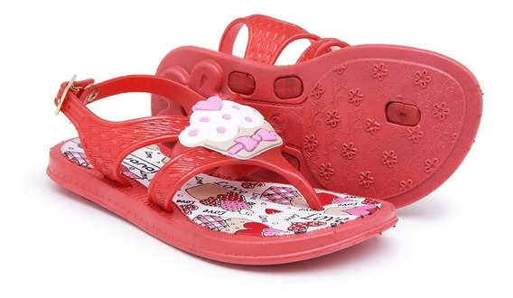 Chinelo Infantil Bebê Feminino Cupcake Rosa E Vermelho 4305