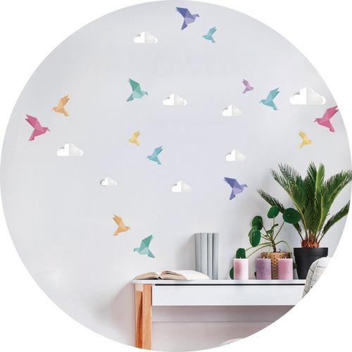 Vinilos Decorativos Pajaros Origami Pasteles Cielo Zen