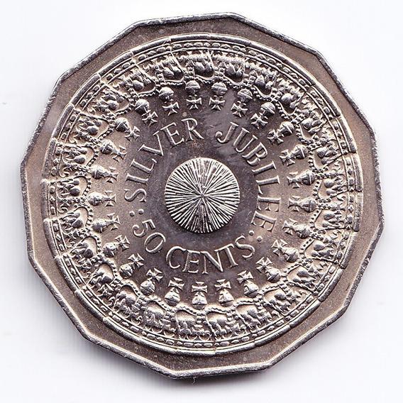 Australia Moneda 50 Centavos 1977 Km 70 Jubileo De La Reina