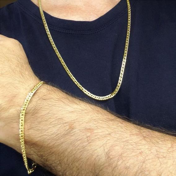 Corrente E Pulseira Masculina Grumet Banho De Ouro 4718 4719